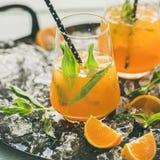 Cocktail alcoolique froid régénérateur d'été avec l'orange, la menthe poivrée et la glace images stock