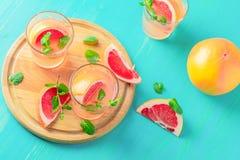 Cocktail alcoolique rose avec le pamplemousse, la glace et la menthe images libres de droits