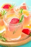 Cocktail alcoolique rose avec le pamplemousse, la glace et la menthe images stock