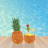 Cocktail in the ananas Royalty Free Stock Image