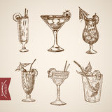Cocktail aperitif alcohol glasses lineart  retro vintage Stock Photography