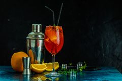 Free Cocktail Aperol Spritz In Big Wine Glass With Water Drops On Dark Background. Summer Alcohol Cocktail With Orange Slices Stock Images - 158777564