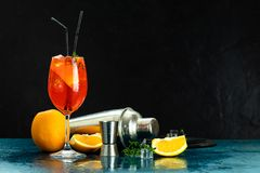 Free Cocktail Aperol Spritz In Big Wine Glass With Water Drops On Dark Background. Summer Alcohol Cocktail With Orange Slices Stock Photo - 160036510