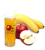 Cocktail of apple and banana  . Cocktail of apple and banana  in a cup Stock Image