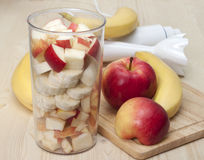 Cocktail of apple and  banana . Royalty Free Stock Photo