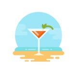 Cocktail arancio con la menta sull'icona piana della spiaggia illustrazione di stock