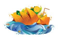 Cocktail arancio, illustrazione astratta di vettore Fotografia Stock