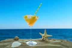 Cocktail avec de la glace sur l'océan image stock