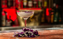 Cocktail avec des fleurs Image stock