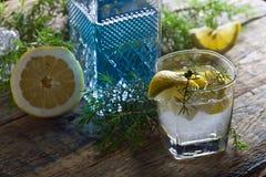 Cocktail avec le genièvre, le tonique et le citron bleus images stock