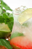 Cocktail avec une limette et une menthe Image stock
