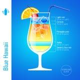 Cocktail azul de Havaí Fotografia de Stock Royalty Free