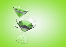 Cocktail background. 3D render of cocktail glasses Royalty Free Stock Photo