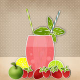 Cocktail background. Glass of drink with tubule. Retro illustration Royalty Free Stock Photography