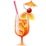 Cocktail Bahama Mama with ice and garnish Stock Image