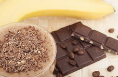 Cocktail of banana. Cocktail of banana, cold coffee with chocolate Stock Photography