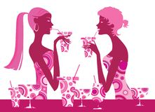 Cocktail bar. Two cool girls enjoy fresh cocktails Stock Illustration