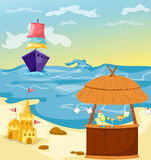 Cocktail bar at the beach stock illustration