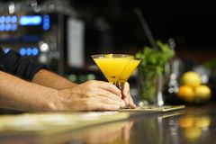 Cocktail on the bar. Close-up. The barman gives a cocktail to the client of the hotel bar. Fresh cocktail with orange. Alcoholic, non-alcoholic drink-beverage royalty free stock photo