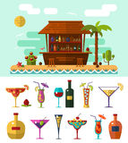 Cocktail bar. Flat style vector illustration of cocktail bar on tropical beach, summer vacation. Ocean cost, palm with coconut and cocktails icons Stock Images