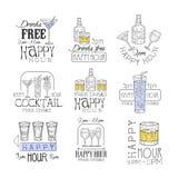 Cocktail-Bar-glückliche Stunden-Förderungs-Zeichen-Design-Schablonen-Satz Hand gezeichnete Hippie-Skizzen mit verschiedenen Geträ stock abbildung
