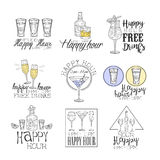 Cocktail Bar Happy Hour Promotion Sign Design Template Collection Of Hand Drawn Hipster Sketches With Different Drinks Stock Photography