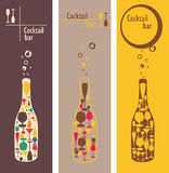 Cocktail bar menu. Bar menu or invitation with image bottles and glasses Stock Photography