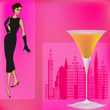 Cocktail Bar Menu Template. Background illustration for a cocktail bar with a 1950's feel royalty free illustration