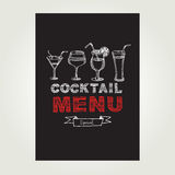 Cocktail bar menu, template design.Vector illustration. Royalty Free Stock Photos