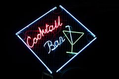 Cocktail Bar Neon Sign Stock Photo