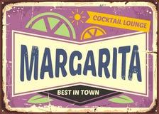 Cocktail bar retro sign design for Margaritas. One of the most popular cocktail drinks. Vintage advertise on purple violet background. Vector illustration Stock Image