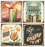 Cocktail bar retro tin sign set. Vector poster templates collection for summer party, bar or restaurant. Cocktail lounge vintage background drawings. Drink and Royalty Free Stock Photos