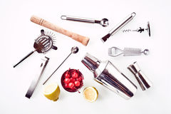 Cocktail Bar utensils against white background royalty free stock photography