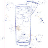 Cocktail Barracuda on a notebook page. Hard drink cocktail Barracuda with gold rum, Galliano, pineapple juice, lemon and dry wine on a notebook page Royalty Free Stock Image