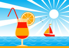 Cocktail on beach Royalty Free Stock Image