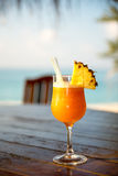 Cocktail at the beach bar. Closeup of colorful Cocktail at the beach bar Stock Photography