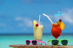 Cocktail on the beach. Concept of luxury vacation.  royalty free stock photography