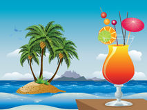 Cocktail on the beach Stock Images