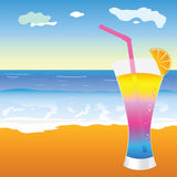 Cocktail on the beach illustration Royalty Free Stock Images