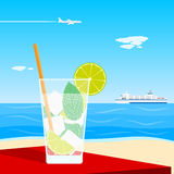 Cocktail on beach Royalty Free Stock Images