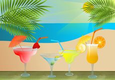 Cocktail and beach. Vector illustration of cocktails with tropical beach on background Royalty Free Stock Photos