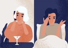 Cocktail bebendo da mulher na barra e fala no telefone celular para equipar o assento na cama Acople a comunicação completamente ilustração royalty free