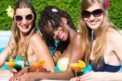 Cocktail bebendo do amigo na barra da piscina Foto de Stock