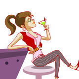 cocktail bevente della ragazza nell'illustrazione del randello di notte Fotografie Stock