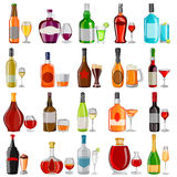 Cocktail and Beverage drink glass with bottle set Stock Photography