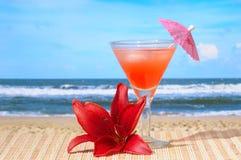 Cocktail bij Strand Stock Afbeelding