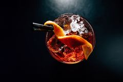 Cocktail on a black background royalty free stock photos