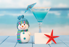 Cocktail, blank card and starfish Royalty Free Stock Photos