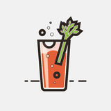 Cocktail Bloody Mary. Vector concept. Element made in flat style for menu, posters, brochures for cafe, bar or restaurant Stock Photos