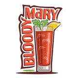 Cocktail Bloody Mary. Vector illustration of alcohol Cocktail Bloody Mary: garnish of celery brunch and lemon slice on glass highball of vegetable cocktail, logo Stock Photos